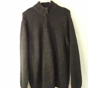 Chaps heavy knit long sleeves sweater with front z